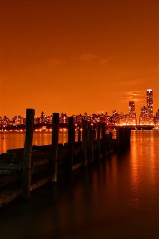iPhone Wallpaper New York, pier, river, skyscrapers, lights, night