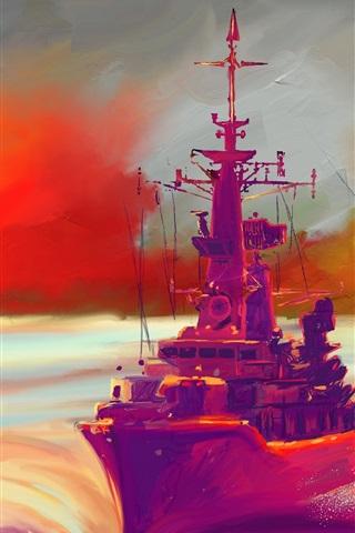 iPhone Hintergrundbilder Ölgemälde, Schiff, Meer, Sonnenuntergang, bunt