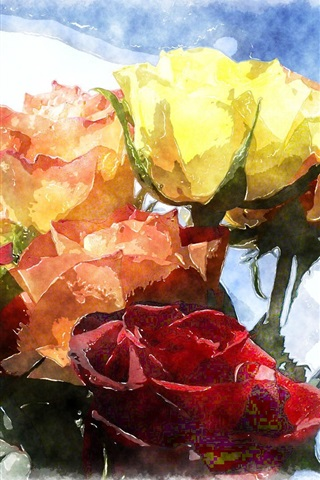 One Bouquet Roses Different Colors Watercolor Painting