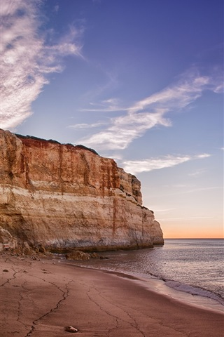 iPhone Wallpaper Praia de Benagil, Portugal, Algarve, sea, beach, mountain