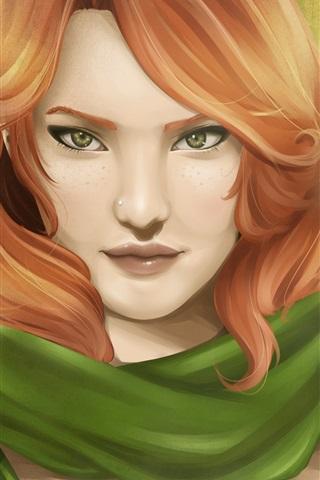 iPhone Papéis de Parede Menina de fantasia de cabelo vermelho, arqueiro