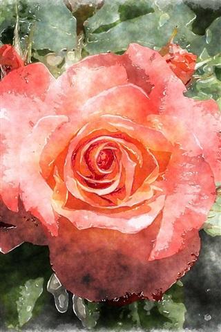 iPhone Wallpaper Red rose, watercolor painting