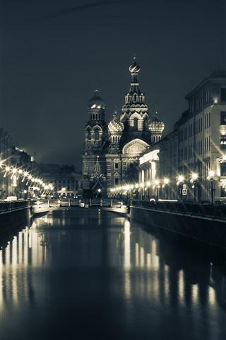 iPhone Wallpaper Saint Petersburg, Church, bridge, river, houses, night