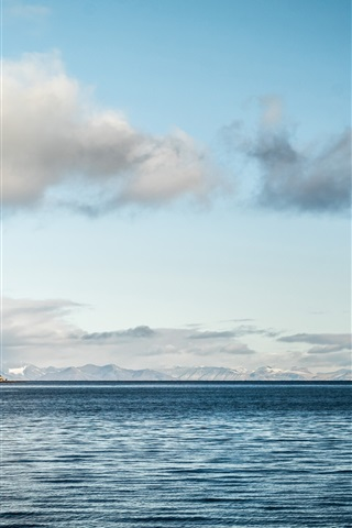iPhone Wallpaper Sea horizon, calm water, clouds, sky