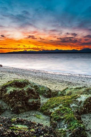 iPhone Wallpaper Sea, stones, clouds, dusk, sunset