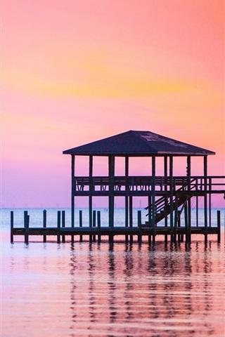 iPhone Wallpaper Sea, sunset, pier, dusk