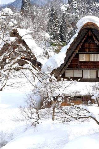 iPhone Обои Shirakawa-go, Япония, зима, снег, деревья, дом