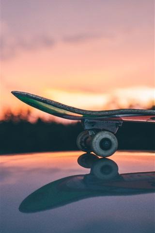 iPhone Wallpaper Skateboard, sunset