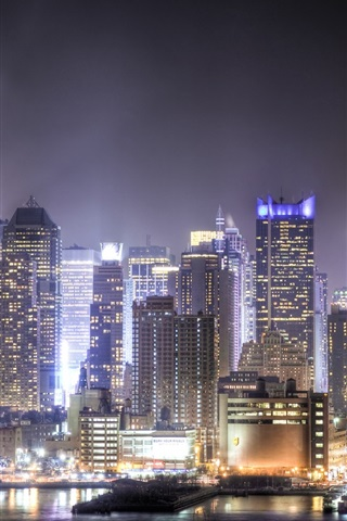iPhone Wallpaper Skyscrapers, megapolis, night, city, lights, Union City, New Jersey