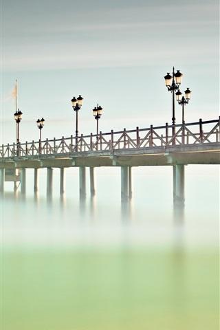 iPhone Wallpaper Spain, Andalusia, Marbella, bridge, sea, pier, lights, fog