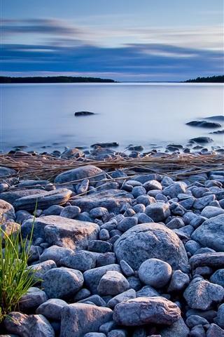 iPhone Wallpaper Stones, grass, lake, dusk