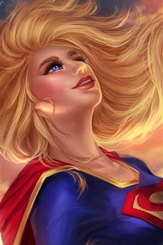 iPhone Wallpaper Supergirl, blue eyes, blonde, DC Comics, art picture