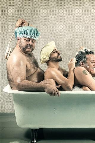 iPhone Wallpaper Three men take bath