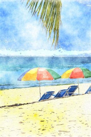 iPhone Wallpaper Umbrellas, beach, sea, watercolors