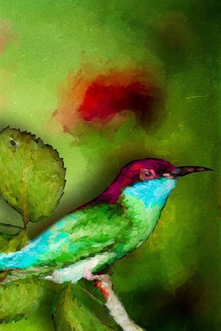 iPhone Hintergrundbilder Aquarellmalerei, Eisvogel, grüne Blätter