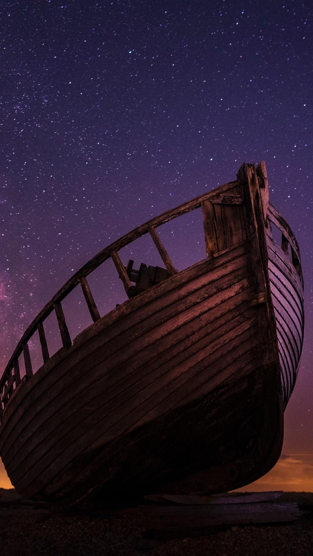 Wood Boat Starry Night Sky 1080x1920 Iphone 8 7 6 6s Plus