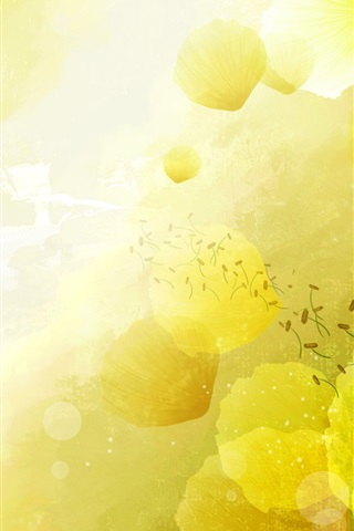 iPhone Wallpaper Yellow flowers background, postcard