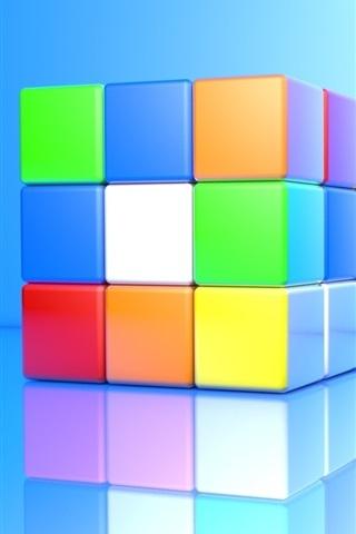 iPhone Обои 3D-куб, красочные цвета