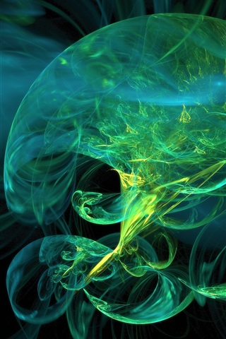 iPhone Wallpaper Abstract green jellyfish