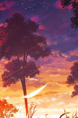 iPhone Wallpaper Anime, trees, sunset, clouds, nature landscape