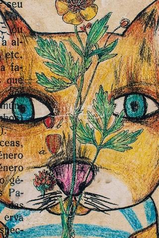 iPhone Wallpaper Art drawing, cat, flower, wall