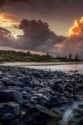iPhone Wallpaper Australia, sea, coast, stones, trees, clouds, sunset