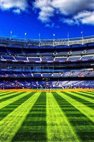 iPhone Wallpaper Baseball field, green grass, sky, clouds