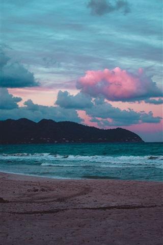 iPhone Wallpaper Beach, sea, waves, clouds, evening