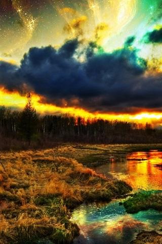 iPhone Papéis de Parede Paisagem natural bonita, grama, árvores, rio, nuvens, colorido