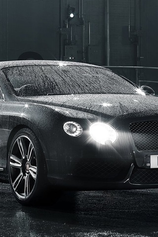 iPhone Wallpaper Bentley Continental GT black car, after rain, water drops