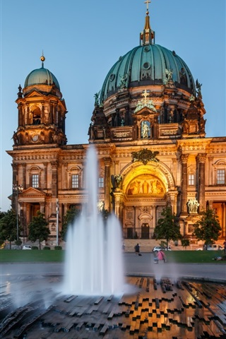 iPhone Wallpaper Berlin Cathedral, architecture, Germany, night, fountain