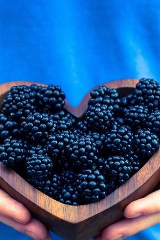 iPhone Wallpaper Blackberries, love heart, hands