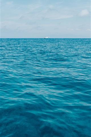 iPhone Wallpaper Blue sea, horizon, ship