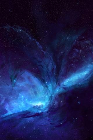 iPhone Обои Голубое пространство, звезды, вселенная