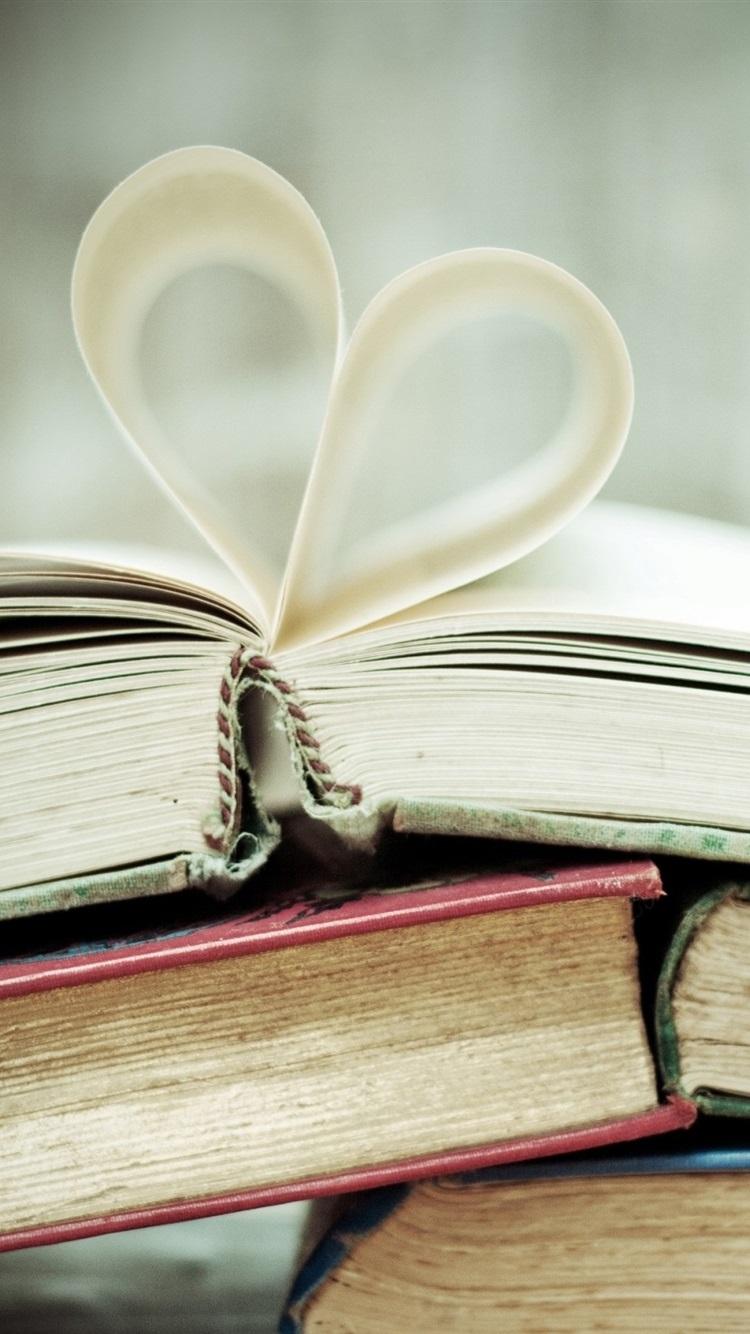 Books Paper Love Heart 750x1334 Iphone 8 7 6 6s Wallpaper