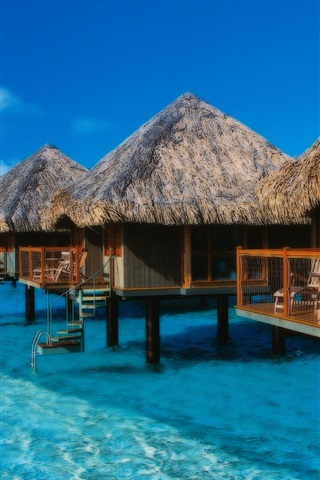 iPhone Wallpaper Bora Bora island, French, vacation, huts, sea