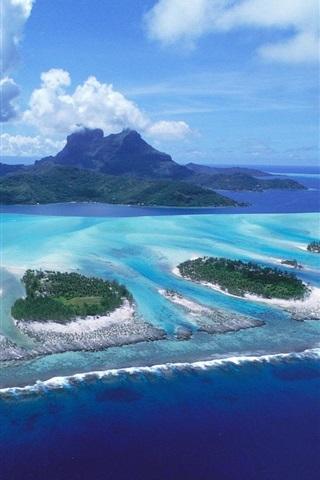 iPhone Wallpaper Bora Bora island, blue sea, clouds, French