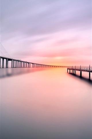 iPhone Wallpaper Bridge, pier, river, morning, calm water