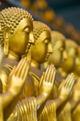 iPhone Wallpaper Buddha statues, gold color