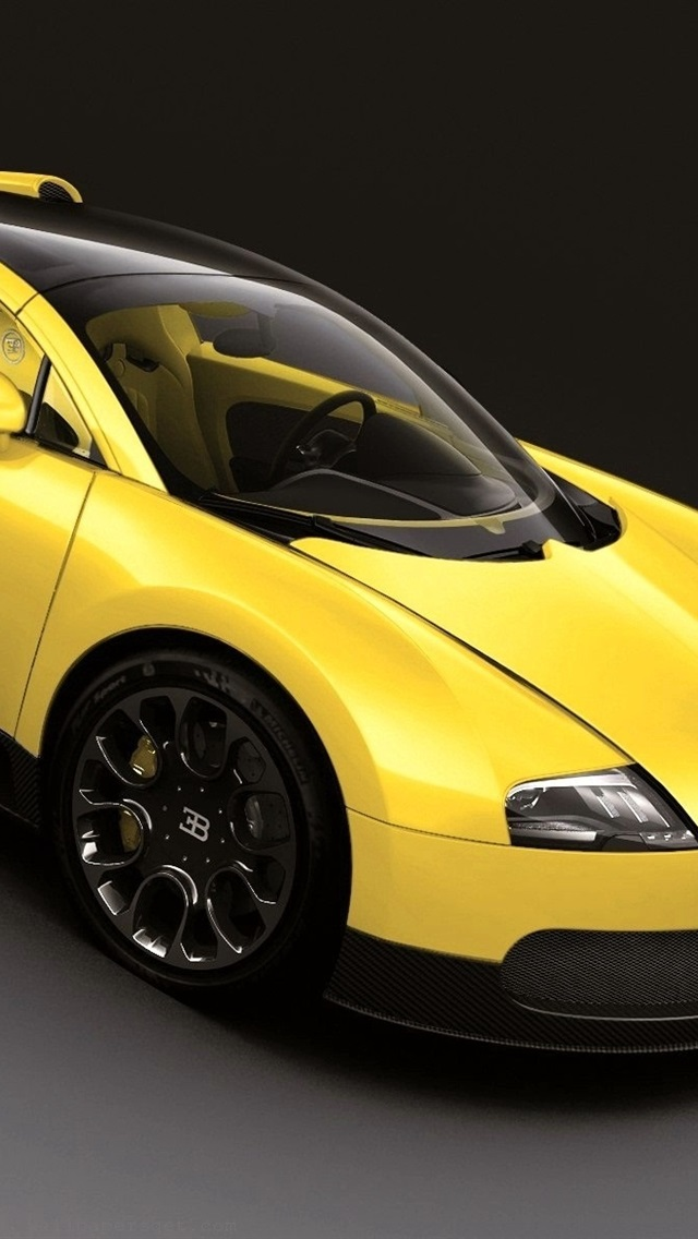 Bugatti Veyron Yellow Supercar 640x1136 Iphone 5 5s 5c Se Wallpaper Background Picture Image