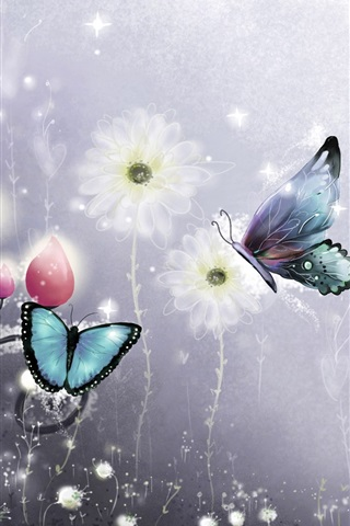 iPhone Wallpaper Butterfly and flowers, art picture