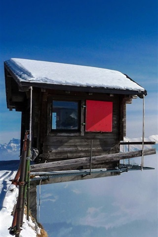 iPhone Wallpaper Cabin, mountain top, snow, fog