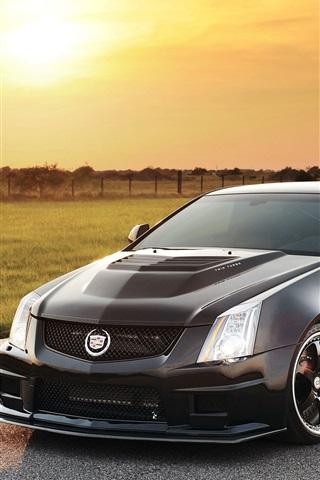 iPhone Hintergrundbilder Cadillac schwarzes Auto bei Sonnenuntergang