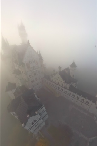iPhone Wallpaper Castle, fog, top view, Germany
