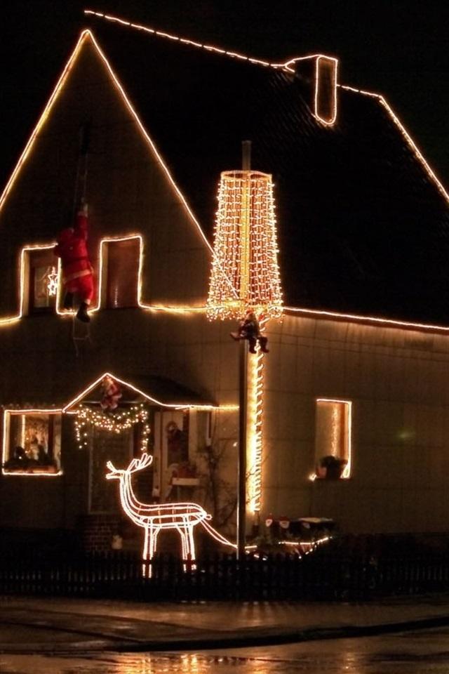 Haus Weihnachtsbeleuchtung.Weihnachten Haus Weihnachtsbeleuchtung Nacht 1920x1080 Full Hd 2k