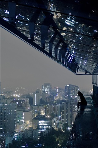 iPhone Wallpaper City, buildings, night, roof, person