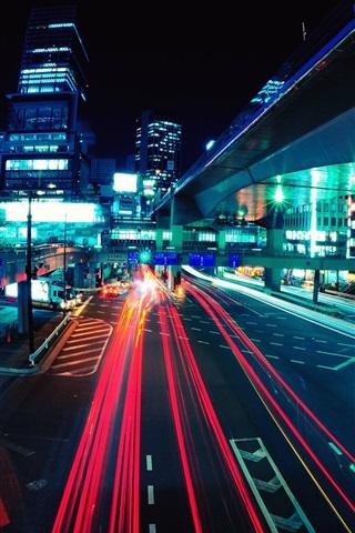 iPhone Wallpaper City night, roads, buildings, traffic, lights