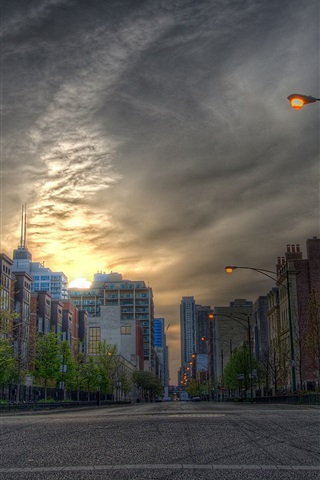 iPhone Wallpaper City, road, houses, buildings, lamps, dusk, sunset