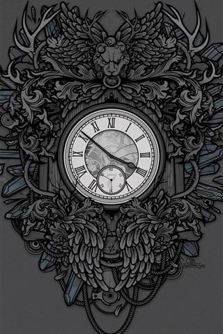 iPhone Wallpaper Clock, lion, art drawing