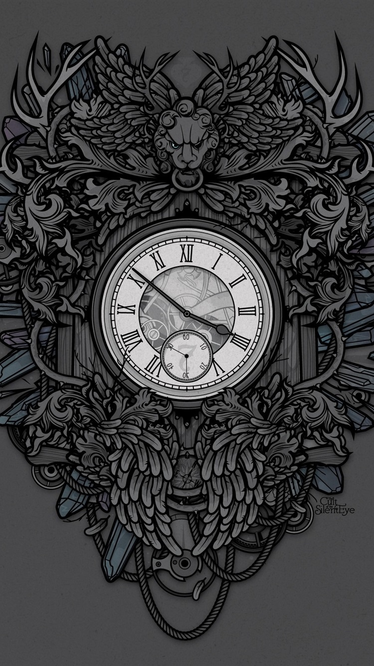 Clock Lion Art Drawing 750x1334 Iphone 8 7 6 6s Wallpaper
